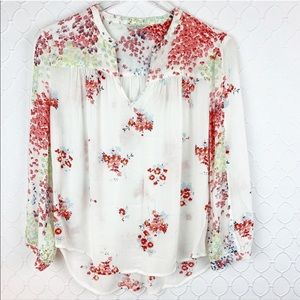 Lucky Brand Floral Sheer Peasant Blouse Top M/L